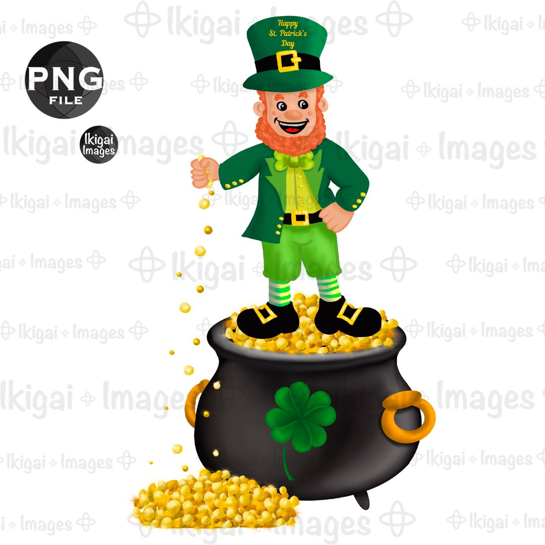 Leprechaun Pot Of Gold Shamrock Png Cauldron Gold Coins Four Etsy Clover Clipart Pot Of Gold Clipart Design