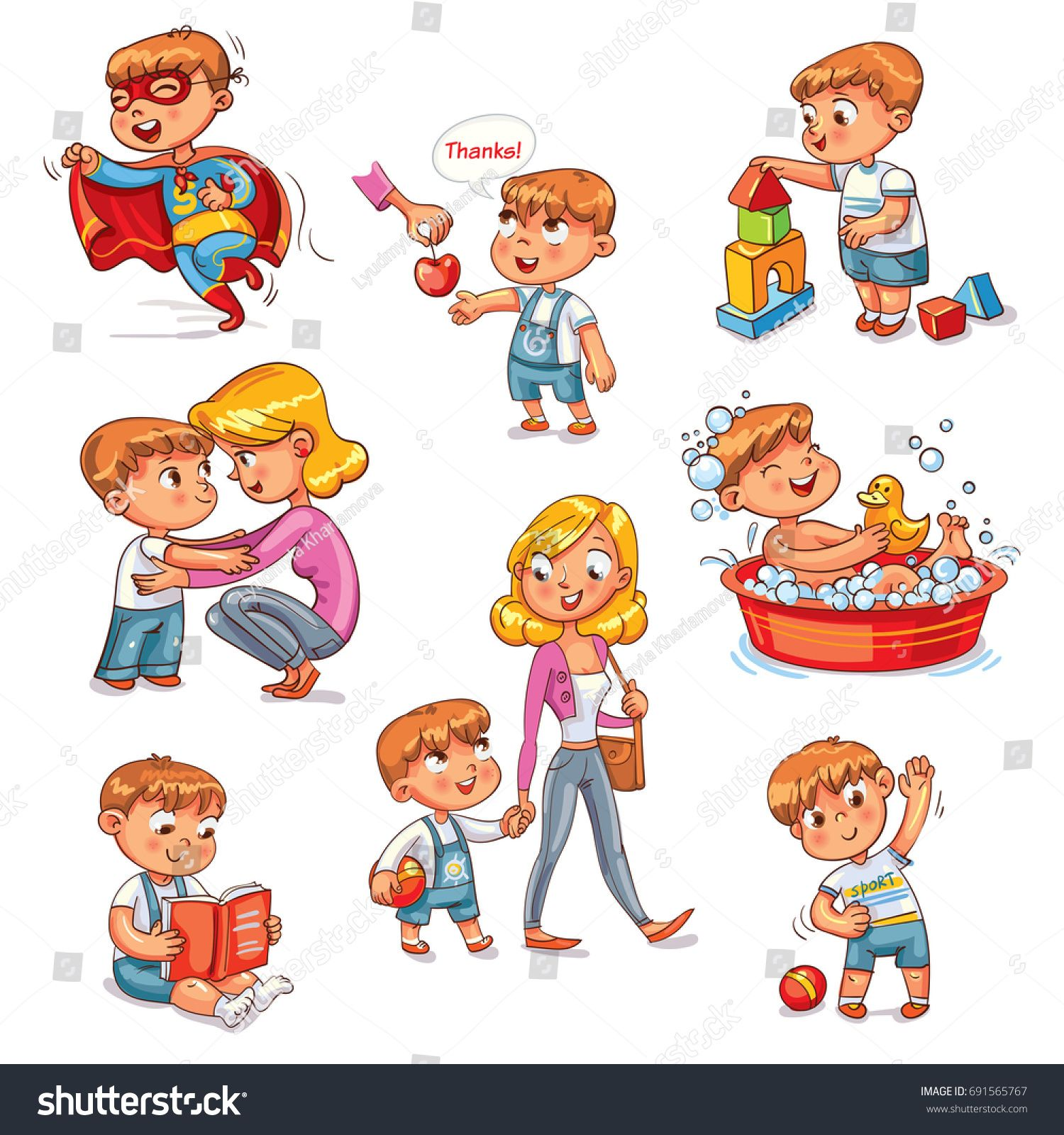 Cartoon Kid Daily Routine Activities Set Boy Goes For A
