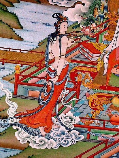 sky goer - dakini, image of traditional tibetan gompa