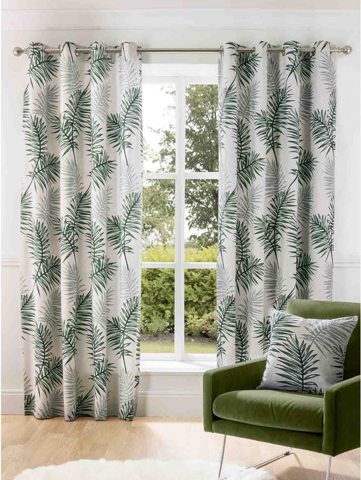 Palm Leaf Printed Cotton Eyelet Curtains Leaf Curtains