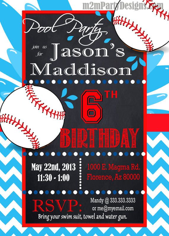 Baseball Pool Party Invitation Custom Pool by M2MPartyDesigns - birthday invitation pool party