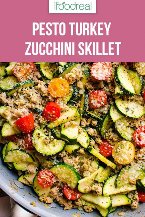 This 30 Minute Healthy Ground Turkey Zucchini Skillet with Pesto is delicious low carb one pot dinner recipe that will become your familys favourite
