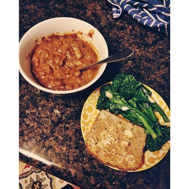 Chili, sweet broccoli, and toast for dinner.  I feel really tired and it was hard to eat all of this.  I just don't have much appetite today. #Padgram