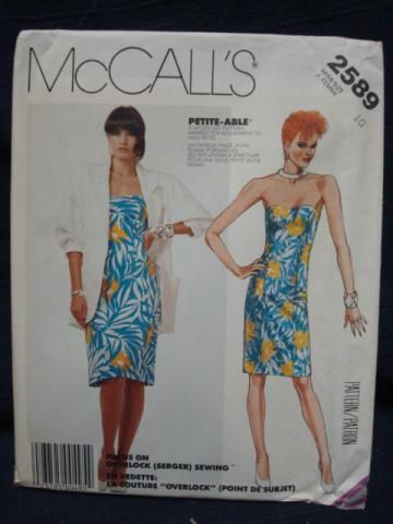 Vintage 1980s Strapless Dress Pattern Boned Bodice with Jacket Sweetheart Neckline Bust 32.5 McCall's 2589 Uncut FF Vintage Sewing Pattern by Patternista for $5.00