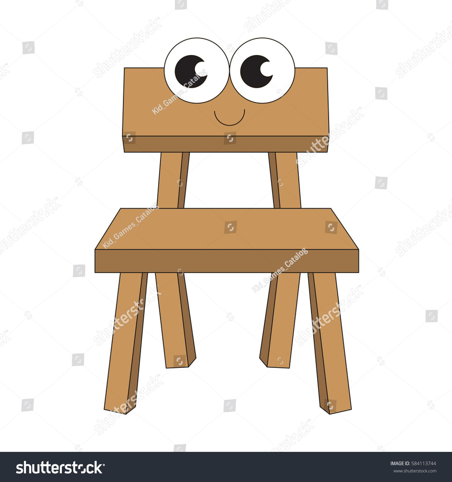 Wooden Chair Cartoon Outlined Object With Black Stroke Sponsored Ad Cartoon Chair Wooden Outlined In 2020 Wooden Chair Cartoon Wooden