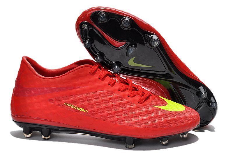 2014 Nike Hypervenom Phantom FG Boots Chinese RedYellow Soccer Shoes On  Sale