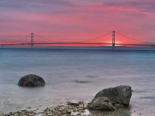 Sunrise At Mackinac Bridge Mackinac Bridge Mackinac Island Michigan Pictures Of Michigan