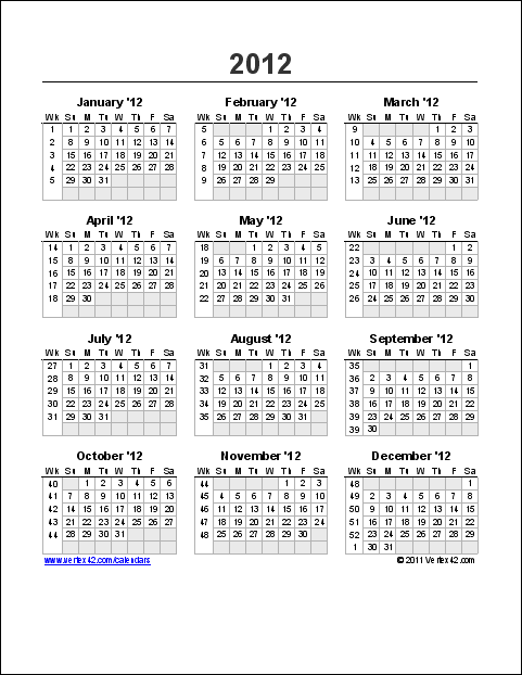 Download the Yearly Calendar with Week Numbers from Vertex42.com ...