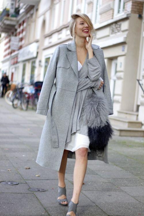 Women's Grey Shawl, Grey Coat, White Midi Dress, Grey Leather ...