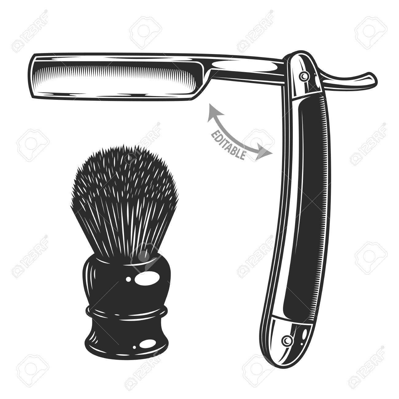 Monochrome Illustration Of Straight Razor And Shaving Brush Isolated On White Background A Tatuaje De Peluquero Logos Para Barberia Ilustracion De Calavera