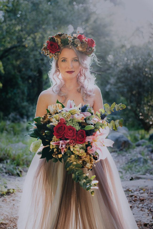 Alternative Bride In Gold Purple Dress Rocking Lilac Hair