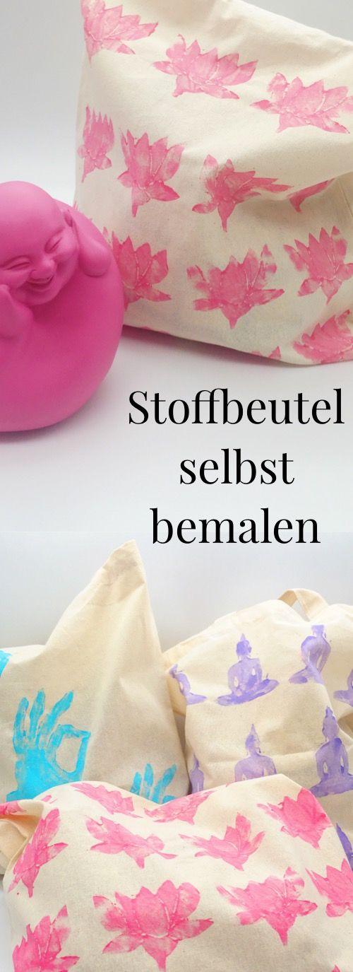 jutebeutel mit stoffmalfarbe und moosgummi stempel selber bedrucken diy textil auf deutsch. Black Bedroom Furniture Sets. Home Design Ideas