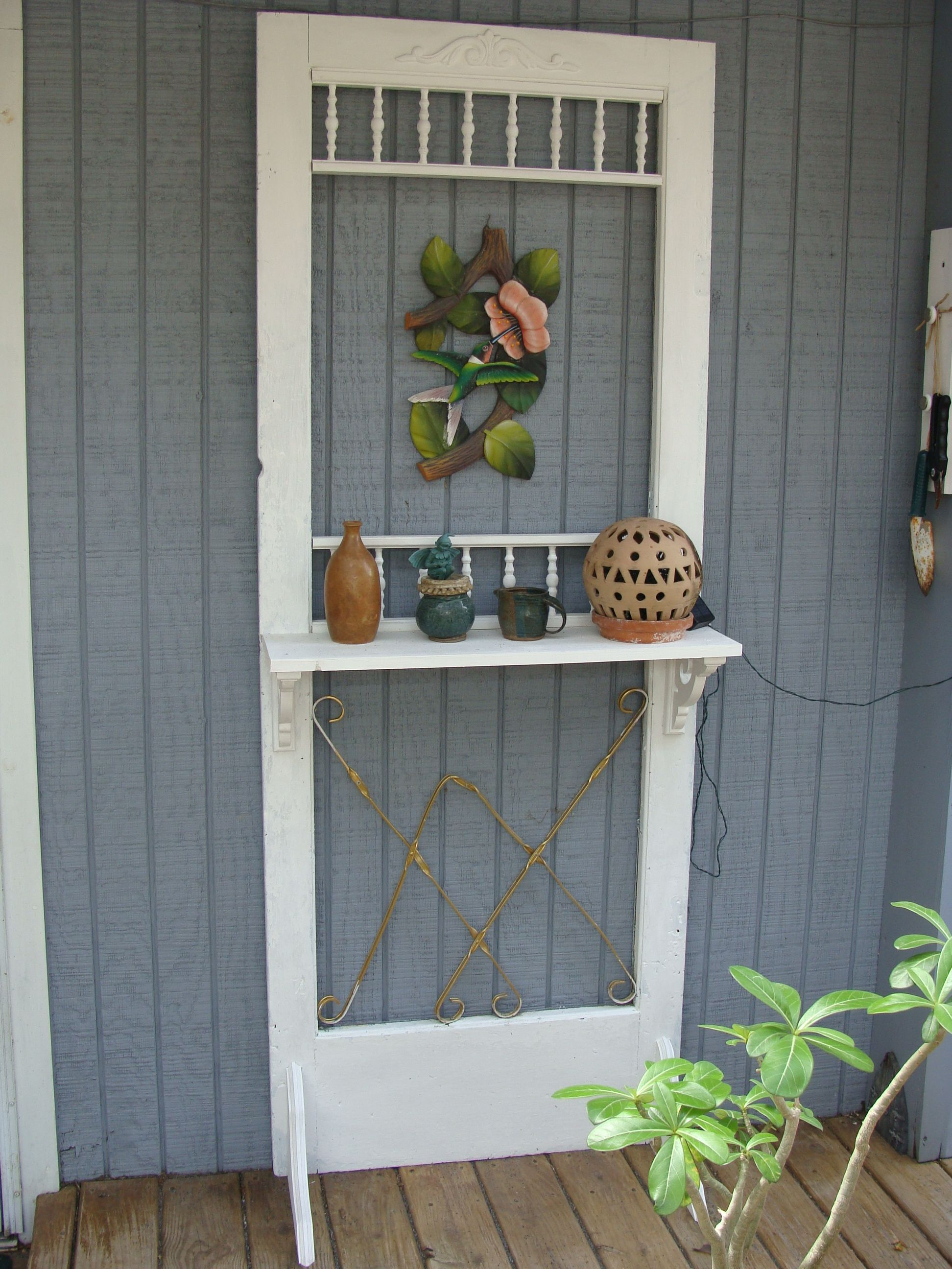 Old Screen Door Ideas.Old Screen Door With Shelf In 2019 Vintage Screen Doors