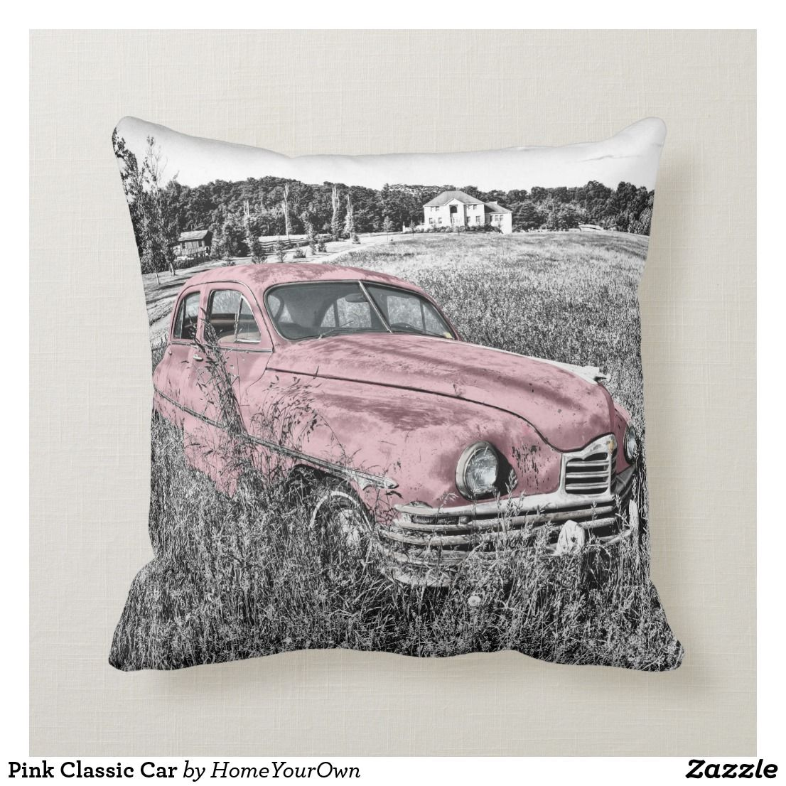 Pink Classic Car Throw Pillow Zazzle Com Car Throw Pillows