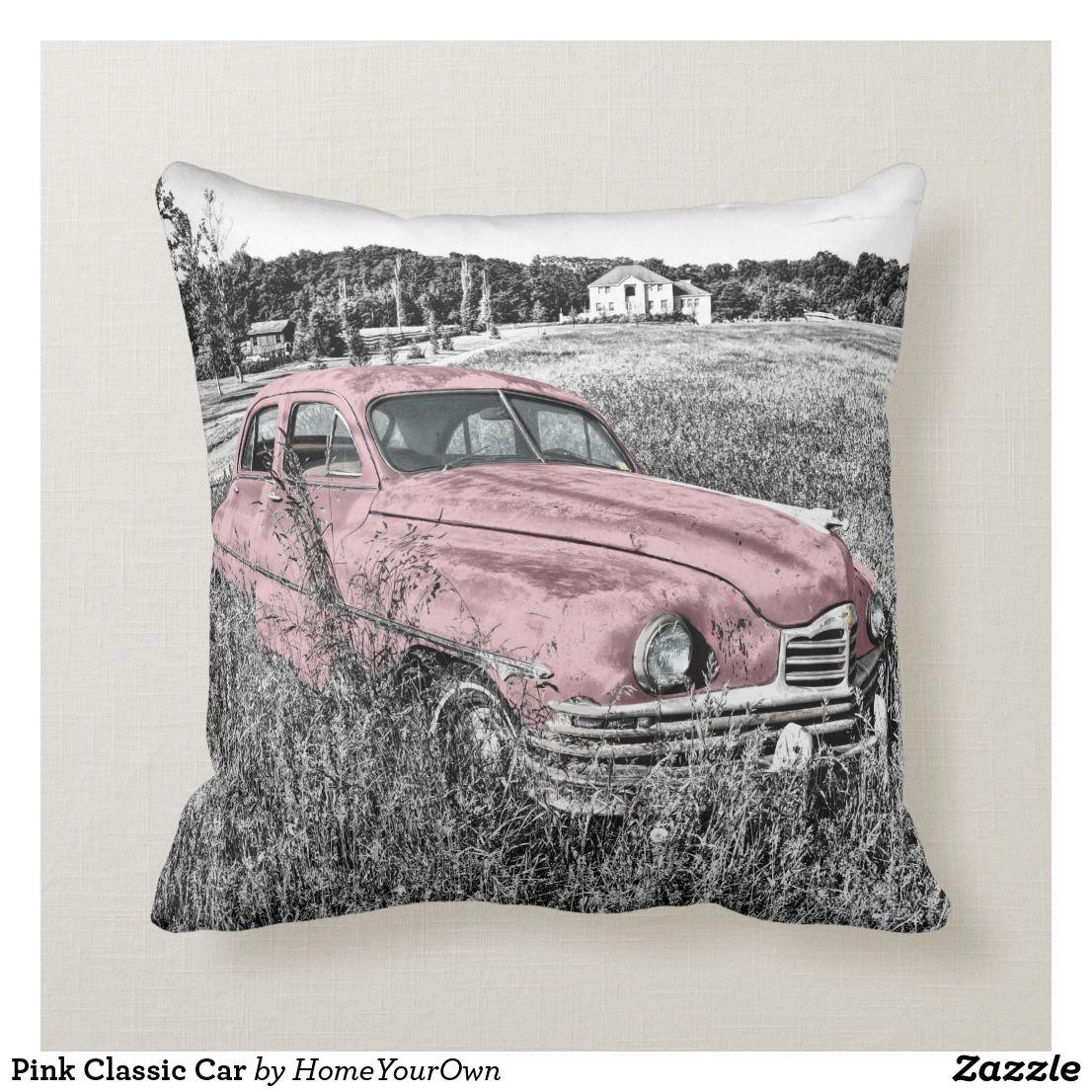 Pink Classic Car Throw Pillow Zazzle Com Car Throw Pillows