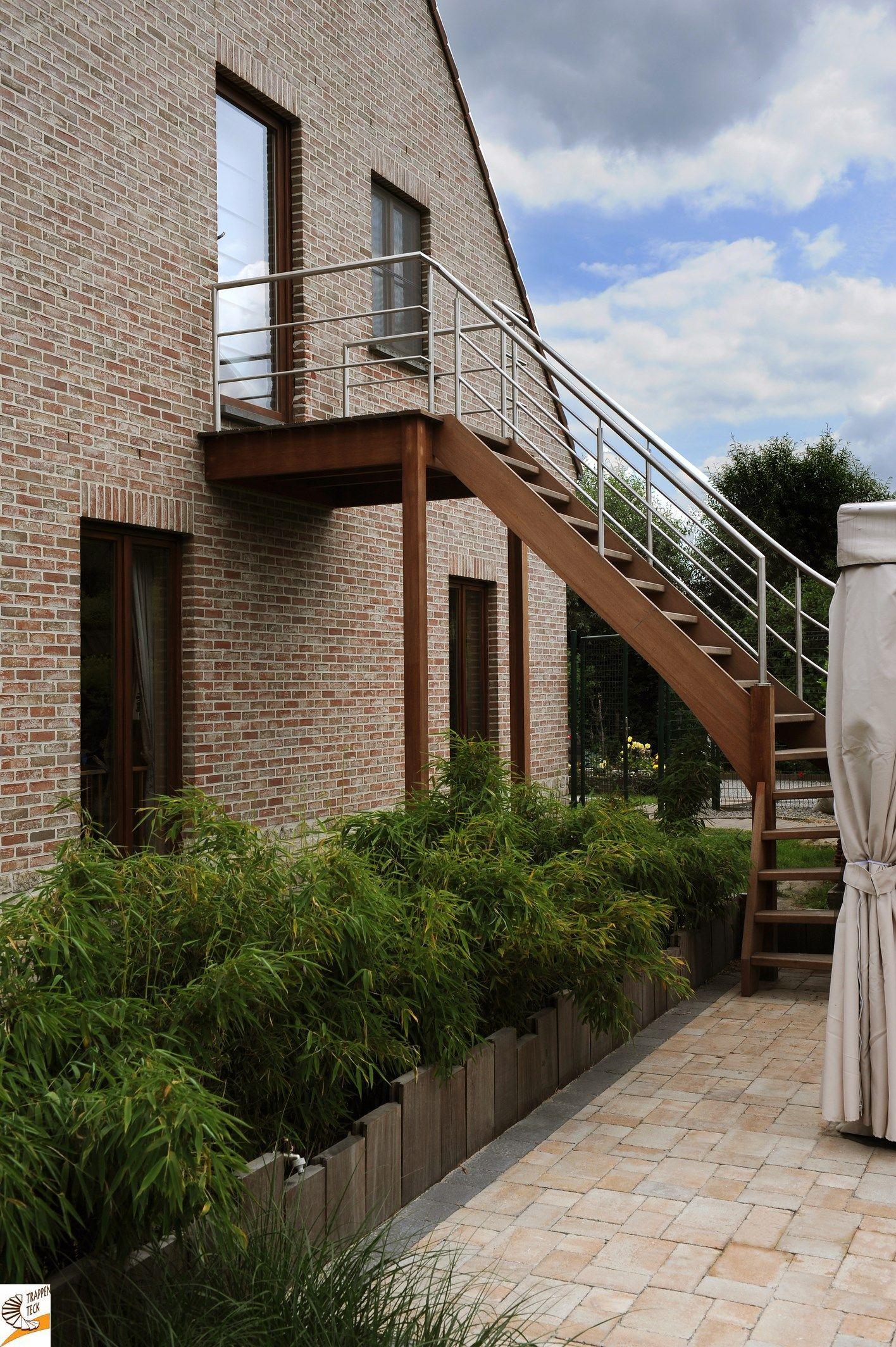 Houten trap voor buiten trappen teck puurs for Houten trap voor buiten