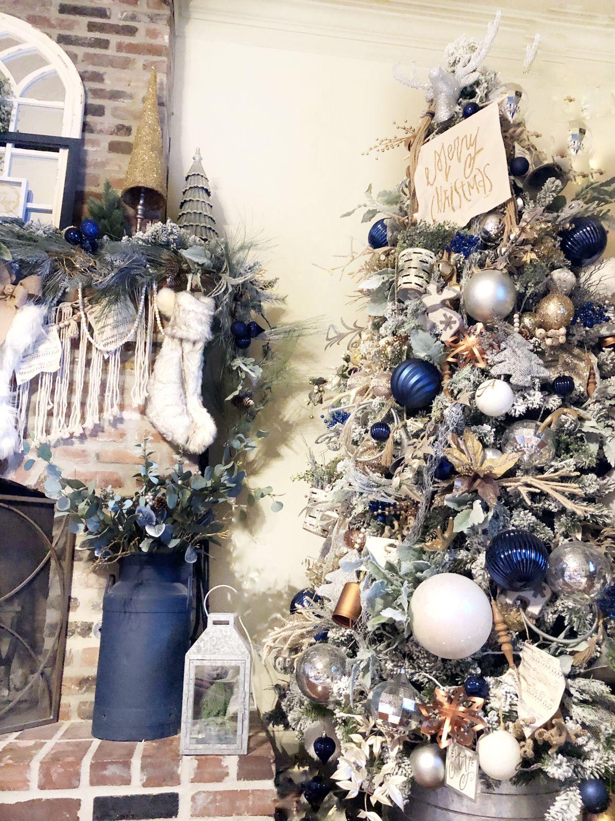 Christmas Tree Farmhouse Style Blue Christmas Decor Glam