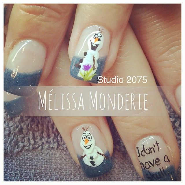 Nail art. Studio 2075, Montreal City. Designed by Melissa Monderie. Olaf! :)