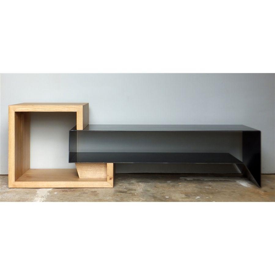 Meuble Tv Metal Meuble Tv En M Tal Et Bois Konnectatelier  # Composition Design Meuble Tele Planche Bois