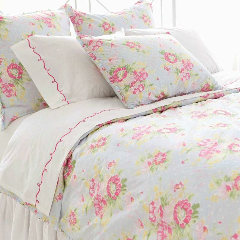 Pretty pink and pastel blue floral bedding | DECOR AND ...