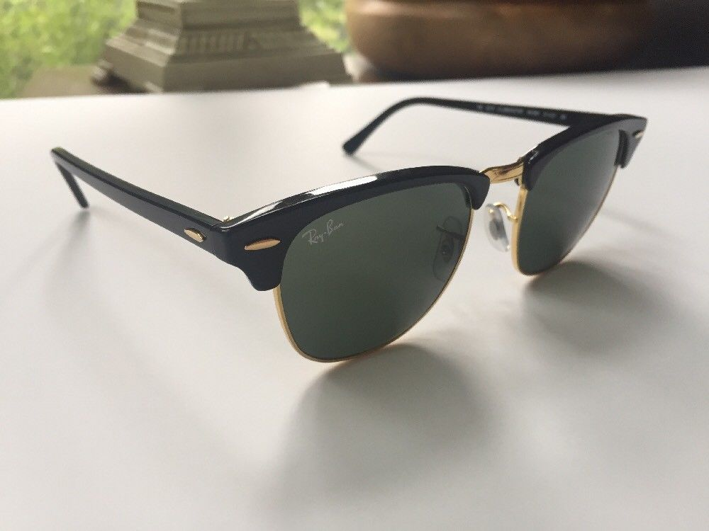 aea2d3cf469 Ray Ban Authentic Clubmaster Sunglasses Black Gold RB 3016 W0365 G15 Green  3N  fashion
