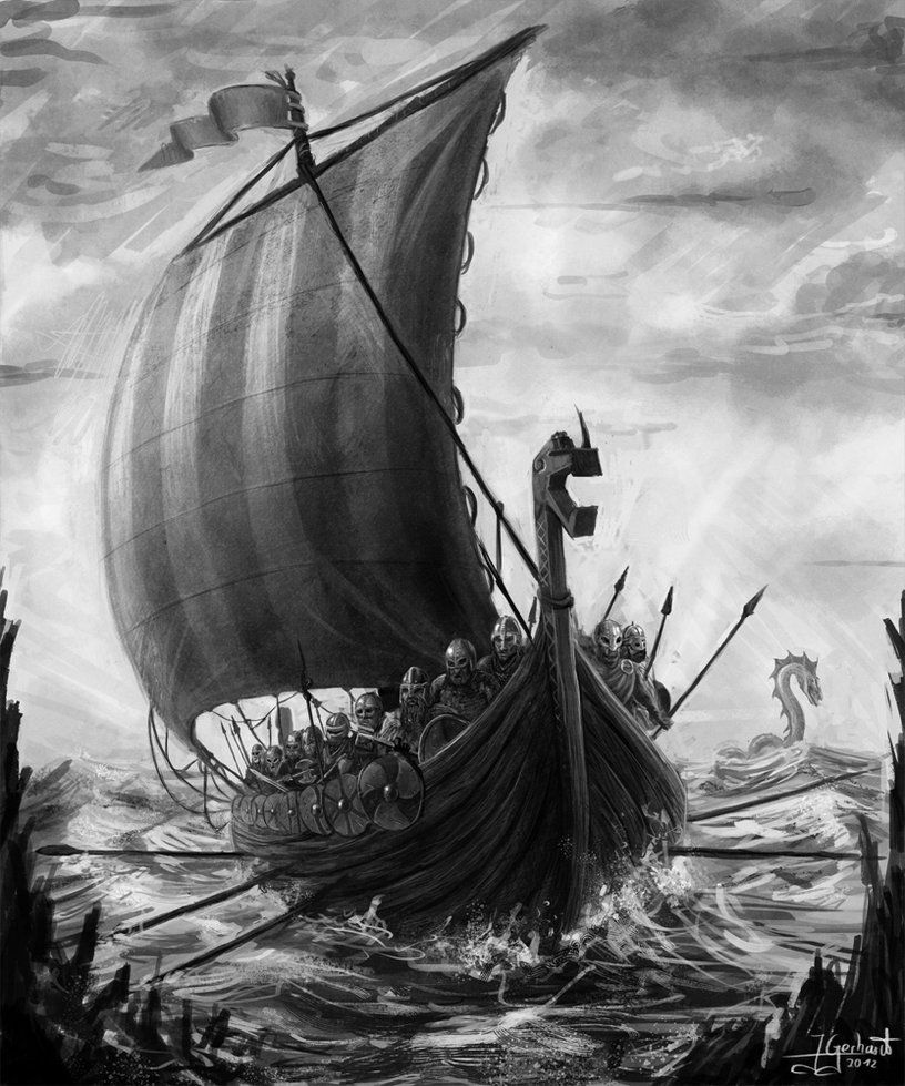 Vikings By Deadfish95 What A Great Drawing Med Bilder Norron