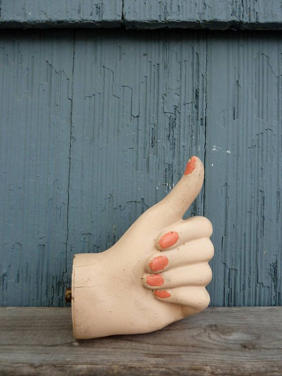 Thumbs Up Mannequin Hand, women\'s hand with pink nails, wood ...