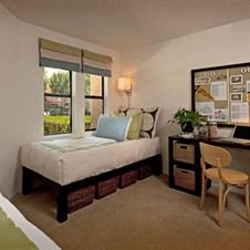 Plenty Of Living And Storage Space At Berkeley And Columbia Court Apartments In Irvine Near Uci Campusliving Uci Bold Bedroom Bedroom Studio Dorm Life