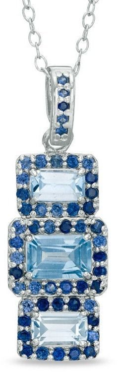 Zales Emerald-Cut Lab-Created Aquamarine and Blue Sapphire Stud Three Stone Pendant in Sterling Silver MDTvTJCung