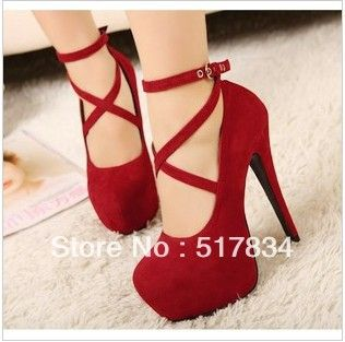 red pumps outfit | ... fashion brief thick heel open toe fashion boots-inSandals from Shoes