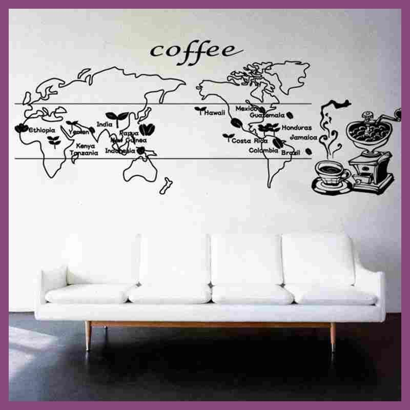 Coffee world map sticker food decal cafe poster vinyl art wall coffee world map sticker food decal cafe poster vinyl art wall decals pegatina quadro parede decor gumiabroncs Image collections