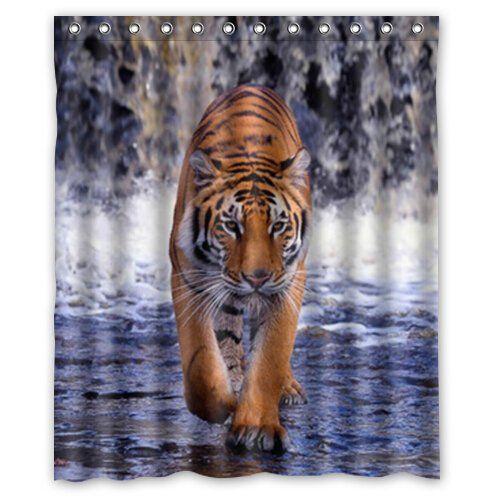 Tiger Bathroom Decor Met Afbeeldingen Douchegordijn Tijger