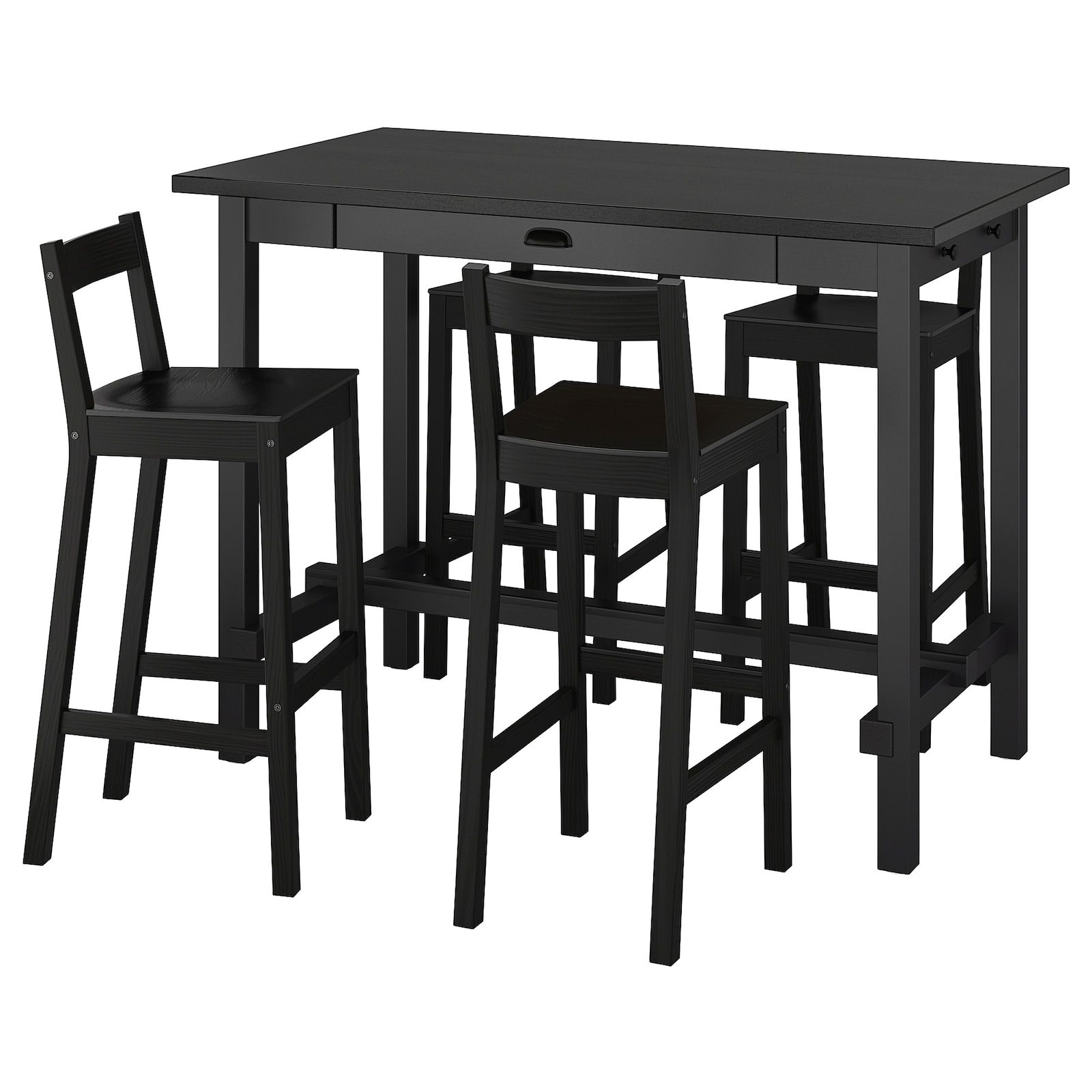 Nordviken Nordviken Bar Table And 4 Bar Stools Black Black Ikea In 2021 Bar Table Bar Stools Bar Table Sets