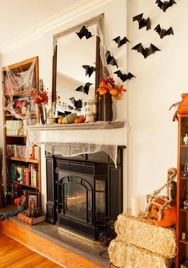 Bat Net Fireplace Decor Mirror Ideas Pumpkin Diy