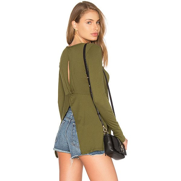 Bobi Light Weight Jersey Open Back Long Sleeve Top (£15) ❤ liked on Polyvore featuring tops, basic tops, jersey top, open-back tops, slit back top, open back long sleeve top and long sleeve tops