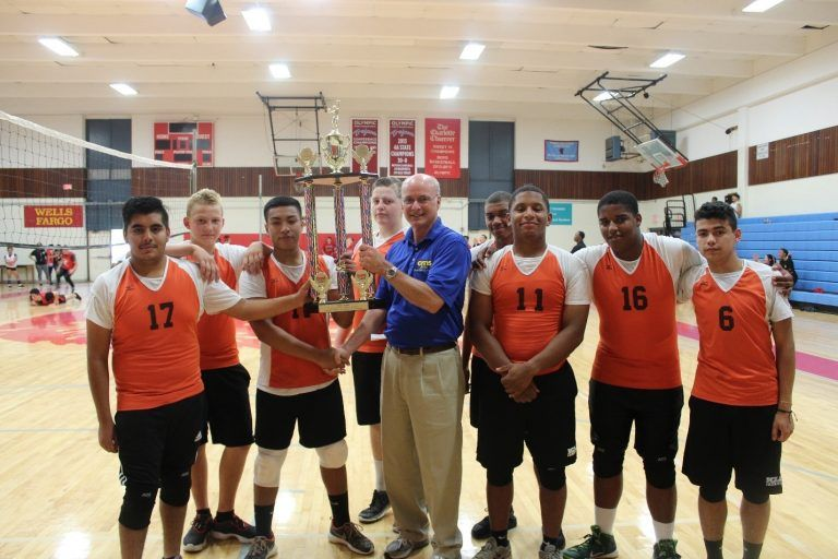 Rocky River Cadets Win Championship Cms Jrotc Director Colonel Robert Clark Presents The Championship Trophy To The Olympic High School Cadet Volleyball Team