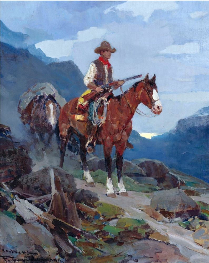 Frank Johnson antique decor Hunting Horse Rifle Gun On the Trail Western