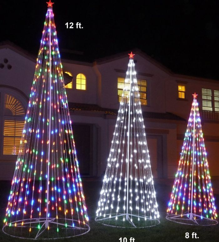 120 Prelit Artificial Christmas Led Outdoor Cone Tree Christmas Decor Diy Christmas Lights Christmas Tree Lighting
