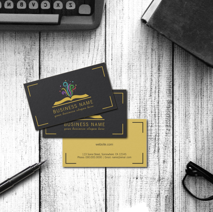 Magical open book fantasy author business cards template beautiful magical open book fantasy author business cards template beautiful writer or book store business cards featuring an elegant design of a gold open book reheart Choice Image