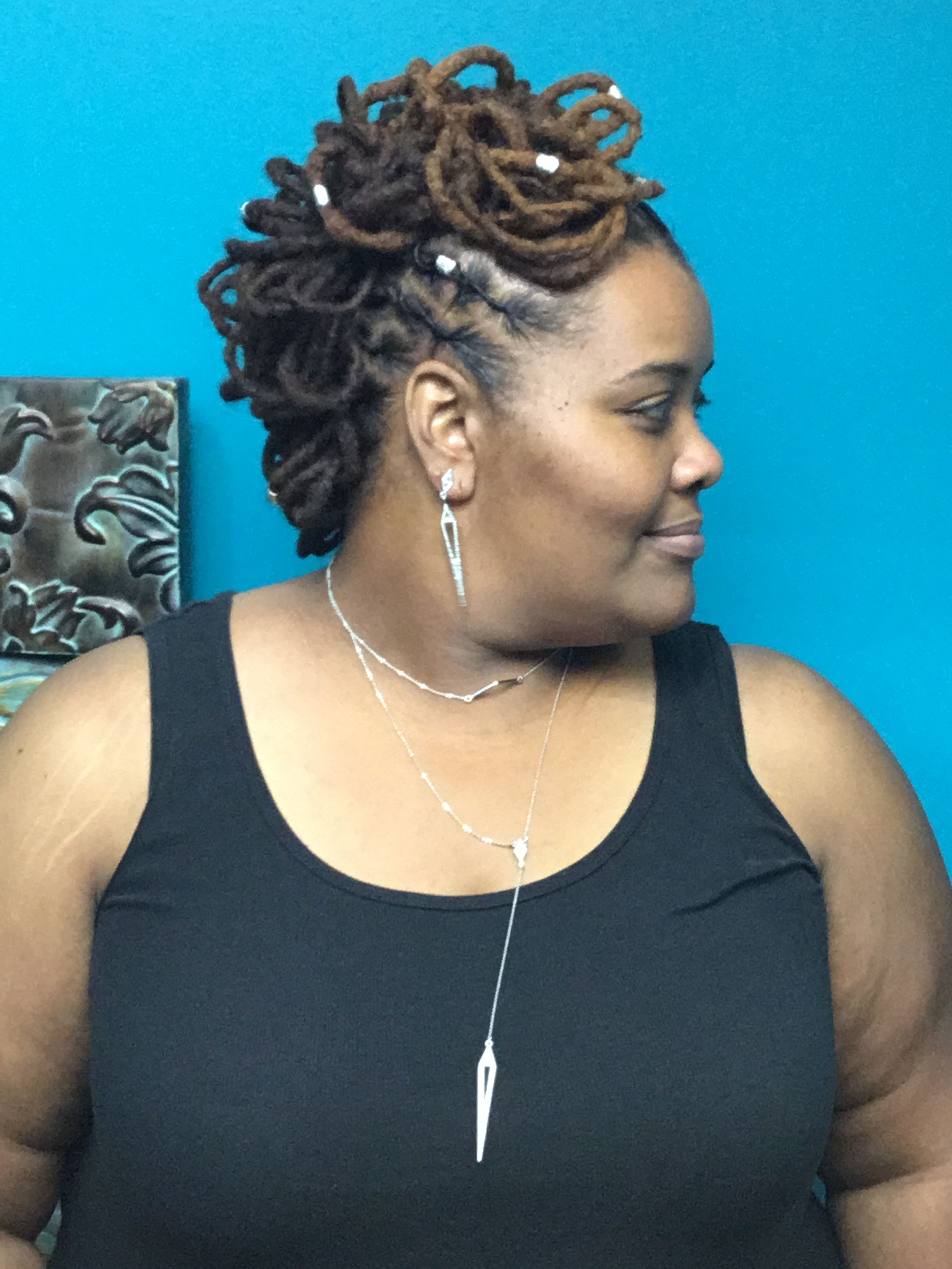 Loc Petals In Mohawk Style Locs Hairstyles Dreadlock