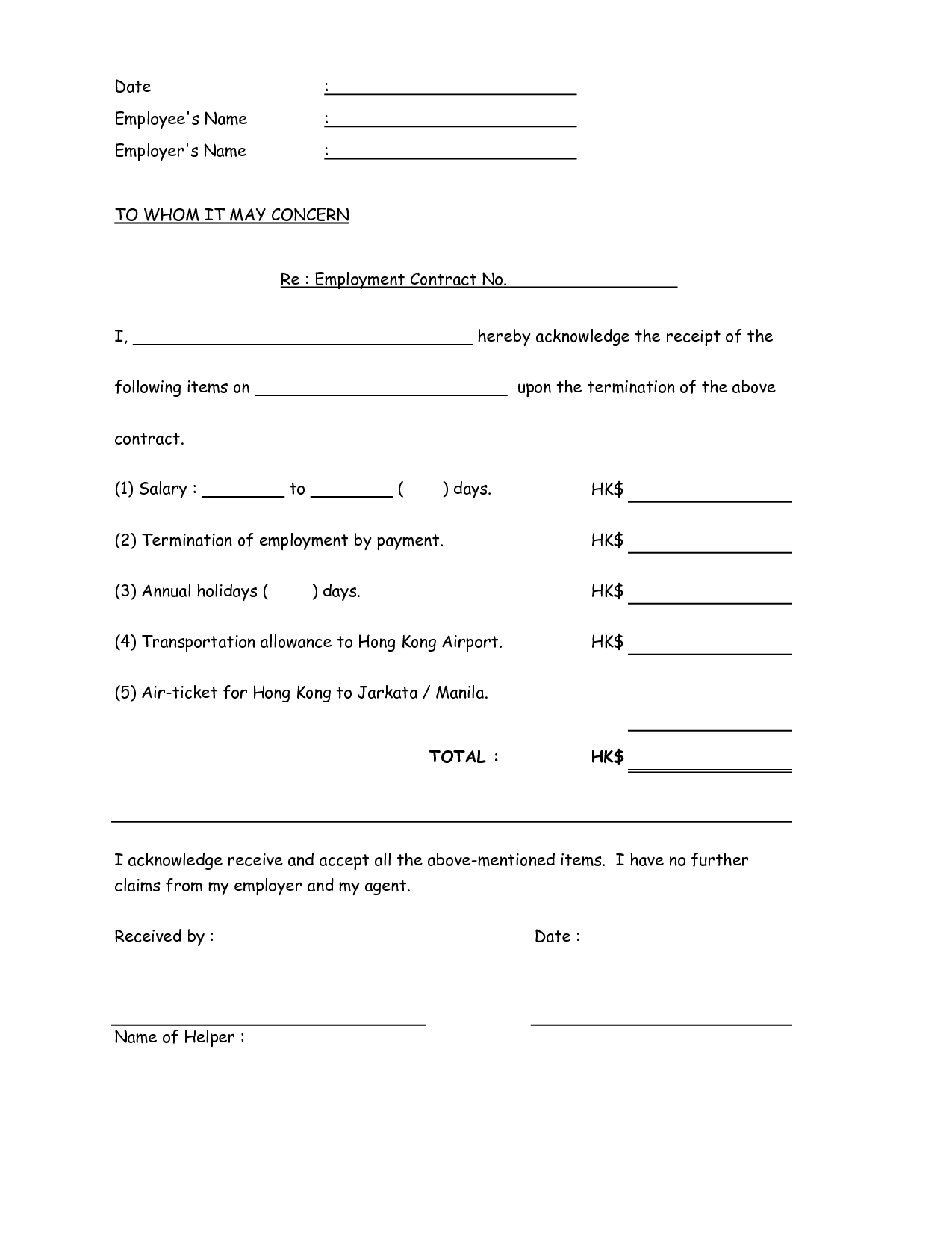 Sample Contract Of Employment Maid Standard Employment Contract