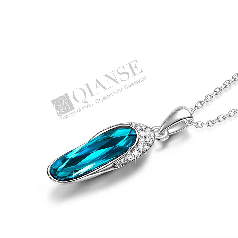 Qianse glass slipper pendant necklace made with swarovski crystals qianse glass slipper pendant necklace made with swarovski crystals jewelry for women girls aloadofball Choice Image