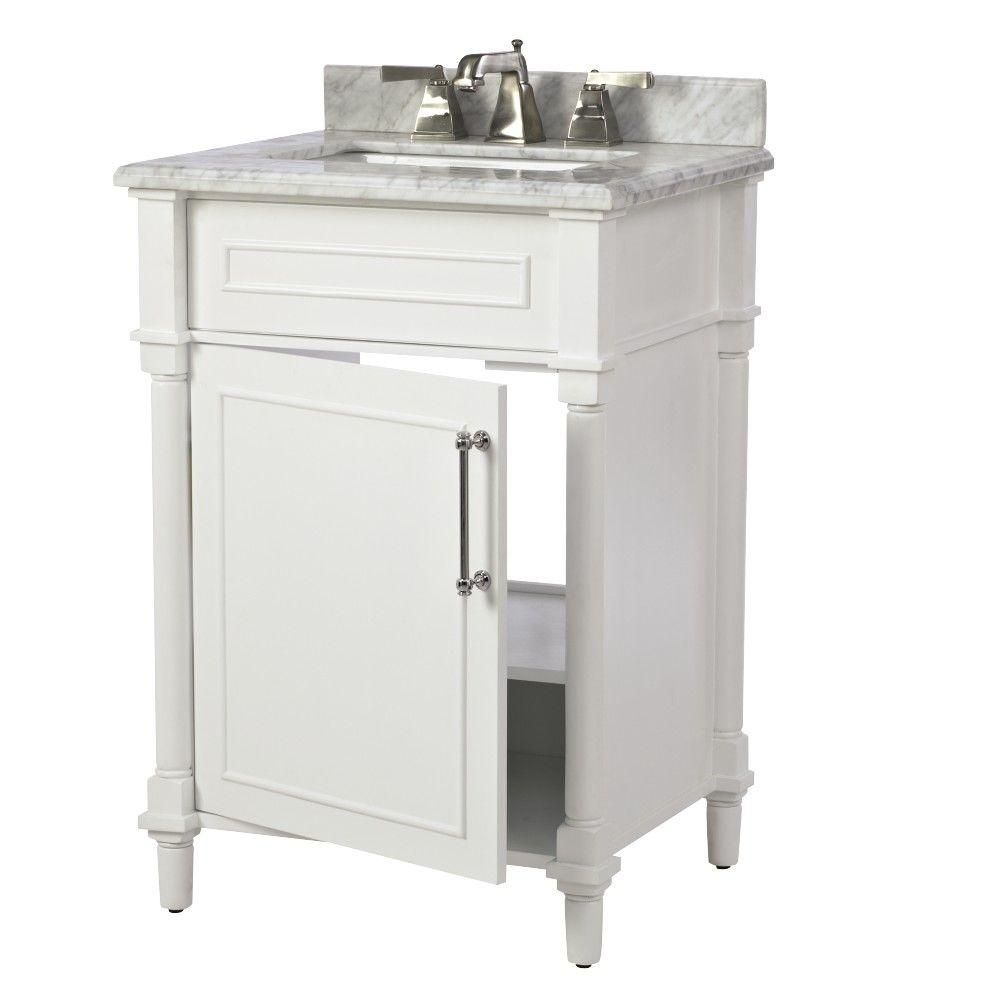 Home Decorators Collection Aberdeen 24 In W X 20 In D Bath Vanity In White With Carrara Marble Top With White Sink 8103200410 The Home Depot Marble Vanity Tops Home Depot