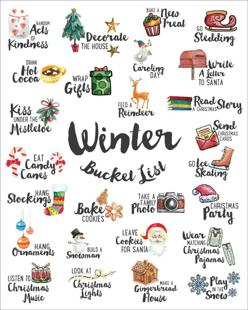 Download a FREE High Resolution Winter Bucket List Here #fallseason