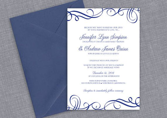 Printable Wedding Invitation Template - DOWNLOAD Instantly - wedding invitation samples australia