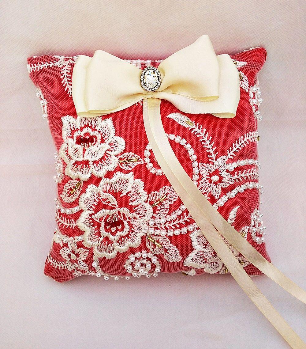 Red ring pillow, lace wedding pillow, bridal pillow, wedding ...
