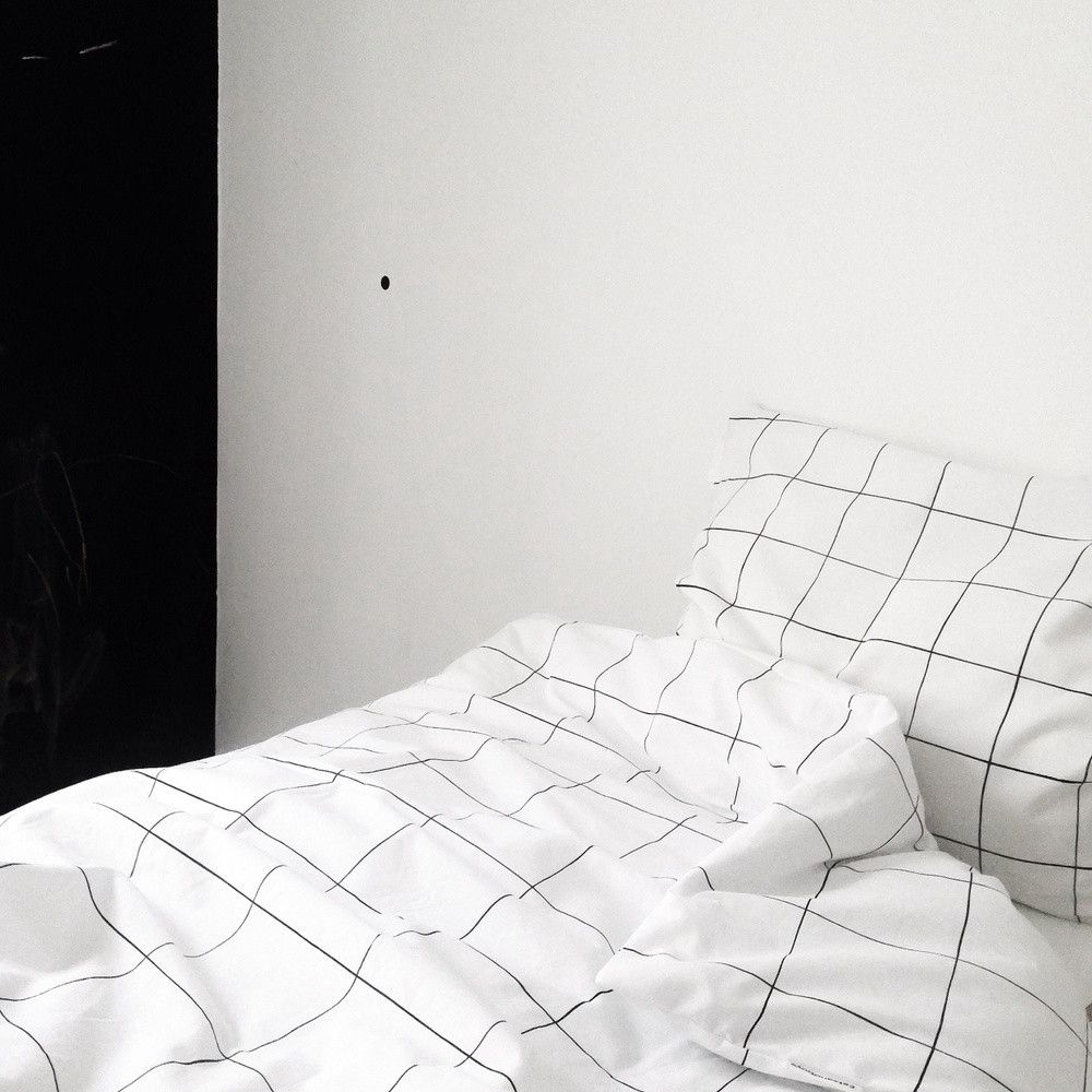 Black bed sheets tumblr - Grid Black White Duvet Quilt Cover Pillow Case Simple