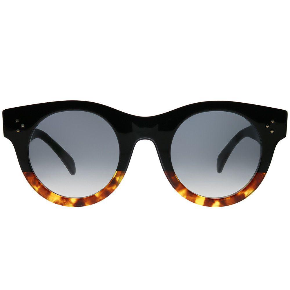 39a5da820f87 Celine CL 41440 F FU5 Black Havana Plastic Round Sunglasses Grey Degrade  Lens