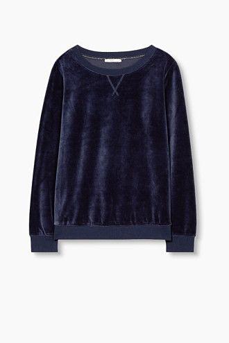 Trui Sweater.Edc Fluweelachtig Sweatshirt Velvet Sweater Jumper Trui Navy