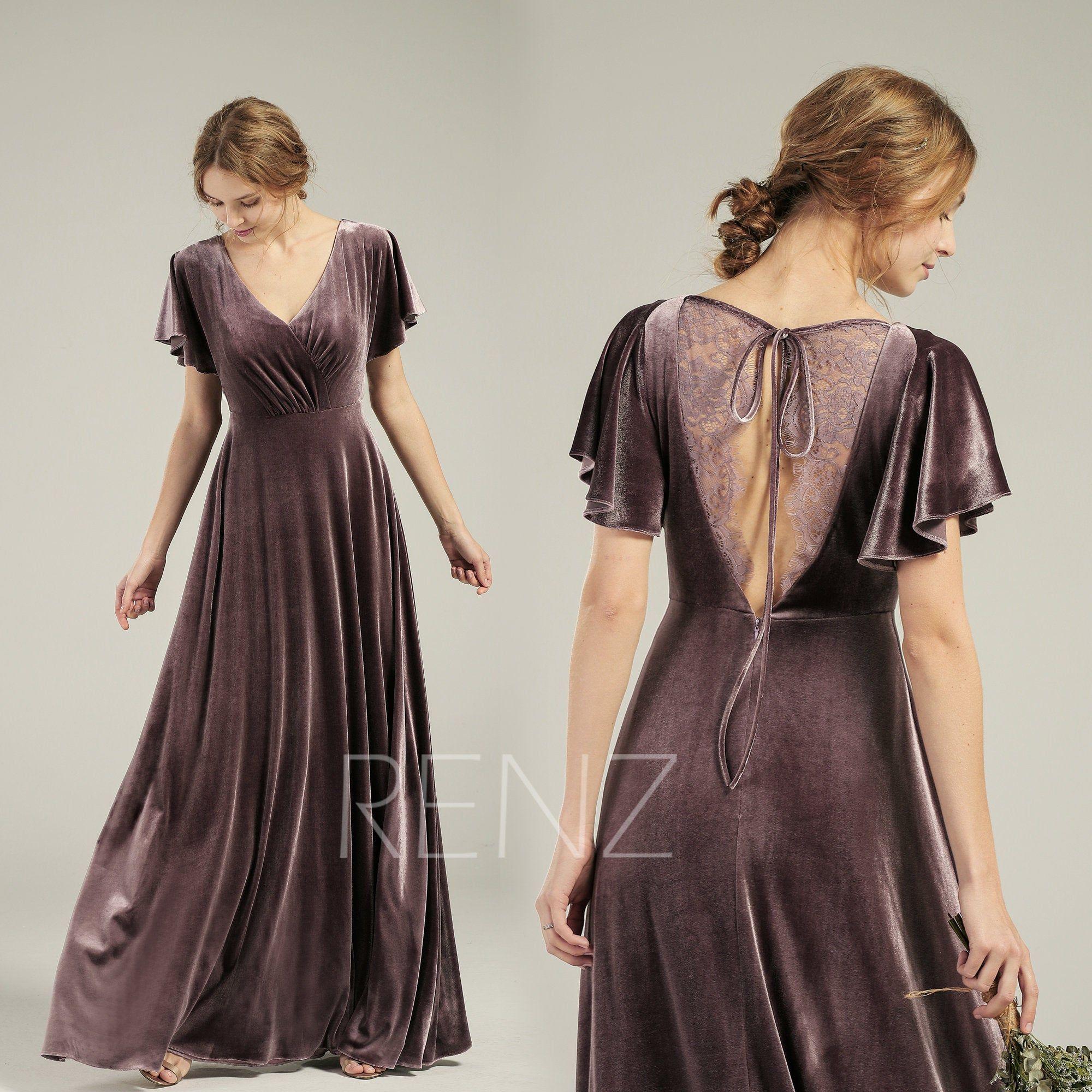 Velvet Dress Long V Neck Dark Mauve Velvet Bridesmaid Dress Flare Sleeves Lace Back Prom Dress (HV762)